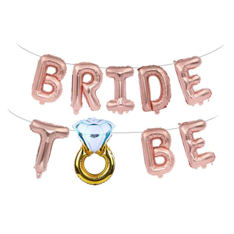Wedding Bridal Shower 16inch Gold Silver Bride To Be Letter Foil Balloons Diamond Ring Balloon for Hen Party Favors Decoration,B