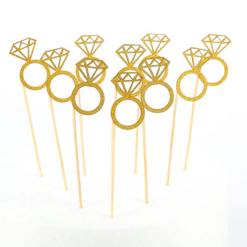 10pc Gold & Silver Glitter Bride To Be Cupcake Toppers Bridal Shower Wedding Decor Bachelorette Party Cake Decoration Supplies,Q