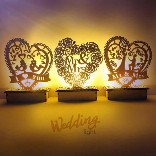 Wedding Decoration - Lamp with Wooden Sign Mrs & Mr