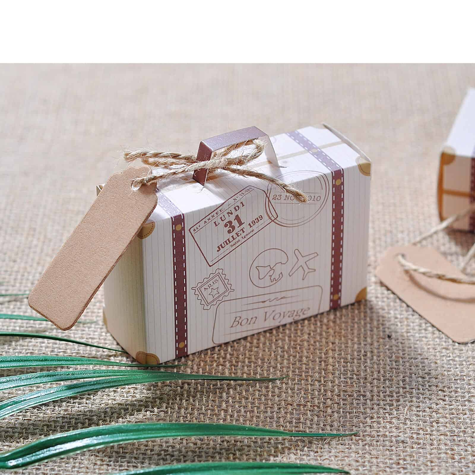 100pcs Suitcase Candy Box Bonbonniere Wedding Gift Bags Travel Themed Party Favors Anniversary Birthday Baby Shower Decoration