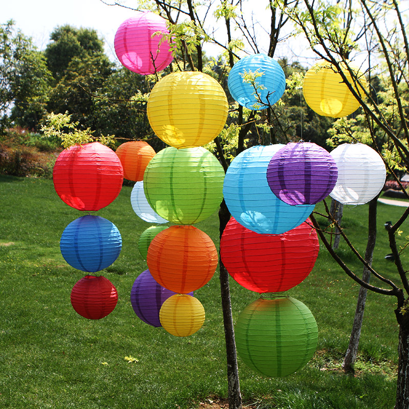 4/6/8/10/12/14/16 Inch Round Chinese Paper Lanterns Birthday Wedding Decor Gift Craft DIY Lampion Hanging Ball Party Supplies