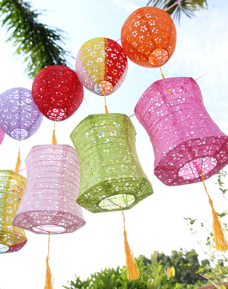 6inch 15cm Hexagon Hollow Out Chinese Paper Lanterns for Wedding Birthday Party Decoration Home Garden Bedroom Hanging Lampion