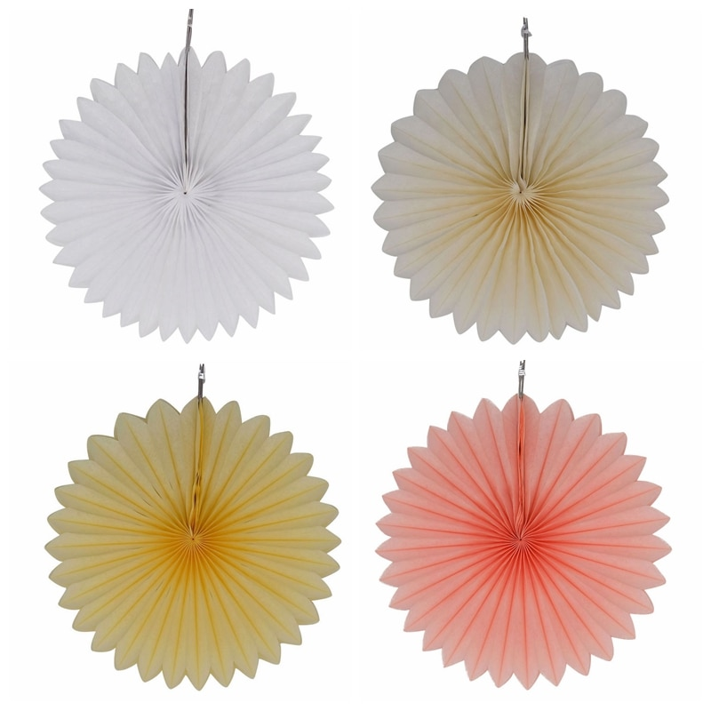 Decorative Wedding Party Paper Crafts 4''-12'' Paper Fans DIY Hanging Tissue Paper Flower for Wedding Birthday Party Festival