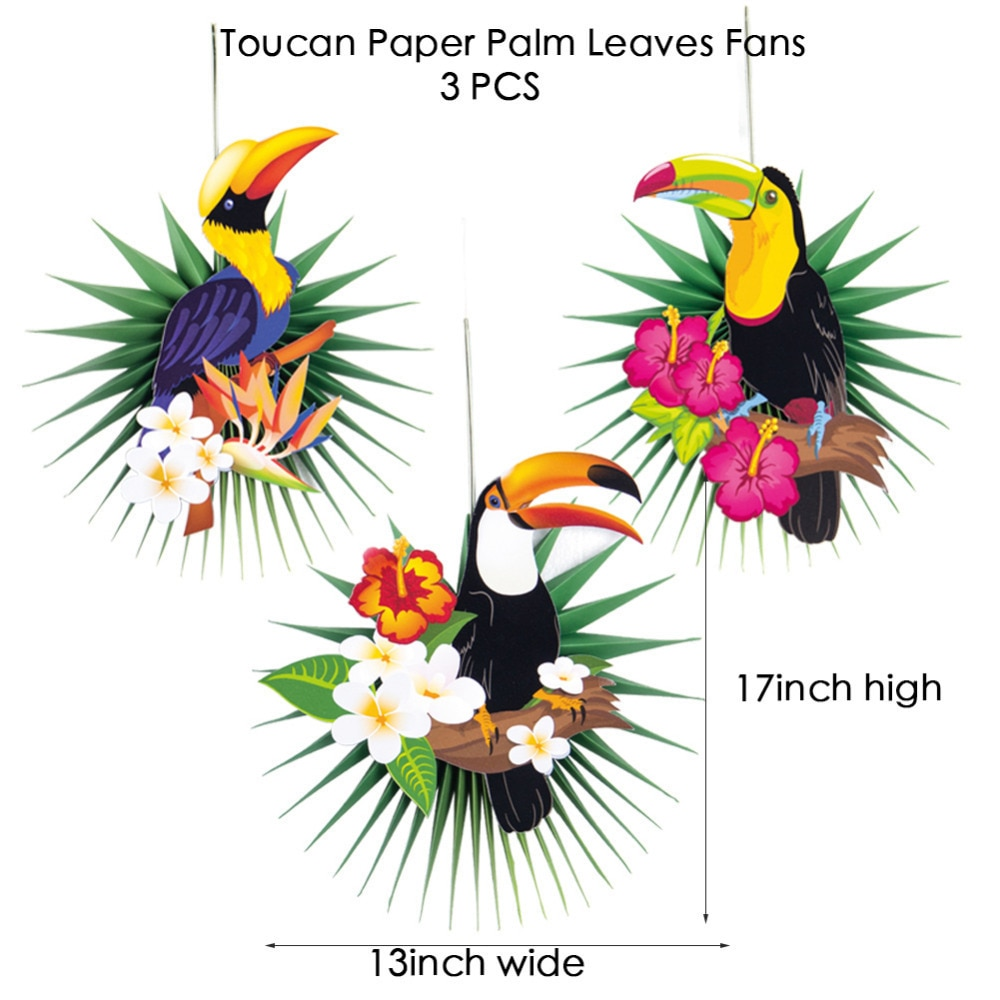 Tropical Party Hawaiian Decorations 3pcs Hanging Paper Fans Flamingo Toucan Palm Leaves Pattern Summer Birthday Luau Party Decor