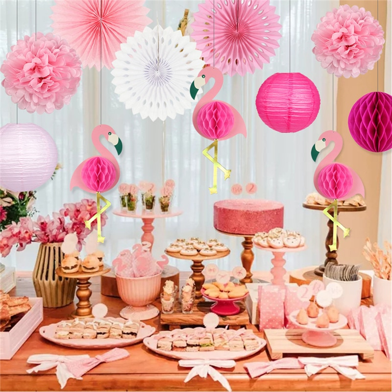 Tropical Pink Flamingo Party Honeycomb Decoration Tissue Paper Fan Flowers Paper Lanterns for Hawaiian Summer Beach Luau Party
