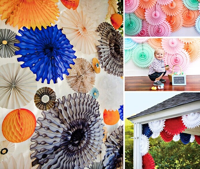 5pcs 20cm Tissue Paper Cut-out Paper Fans Pinwheels Hanging Flower Paper Crafts for Showers Wedding Party Birthday Festival