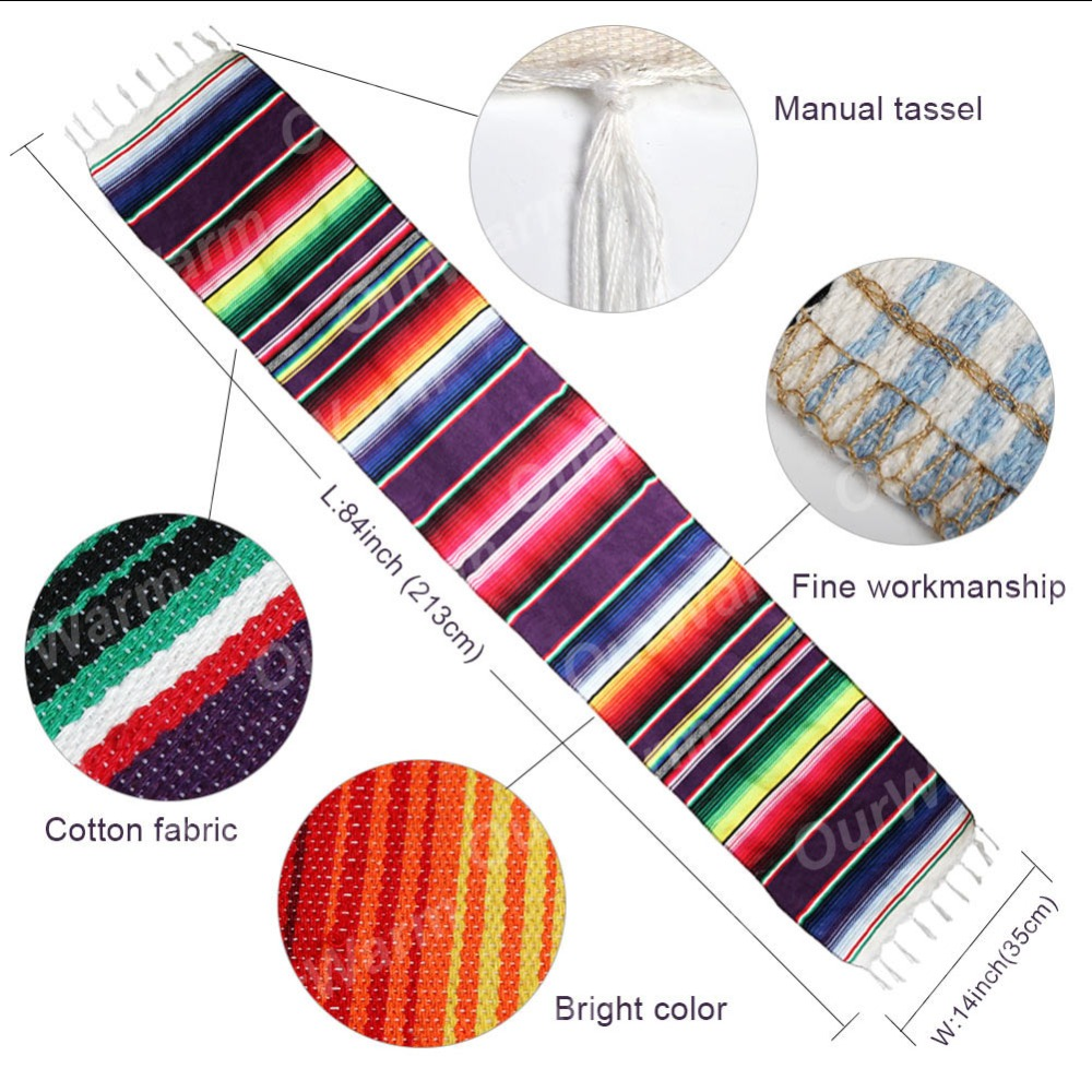 OurWarm Mexican Party Supplies Serape Cotton Tablecloth Table Runner Felt Banner Paper Fan for Wedding Birthday Party Decoration