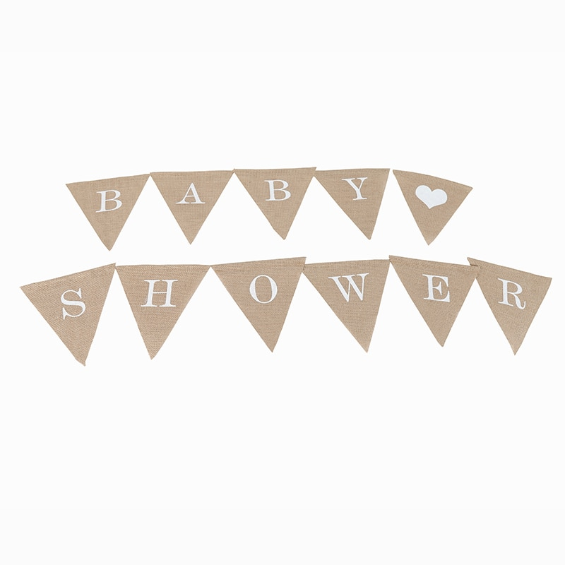 Personalize Party Flag Letter A-Z No.0-9 Diy Jute Burlap Bunting Banner Flags Candy Bar Wedding Decoration Baby Shower Favor