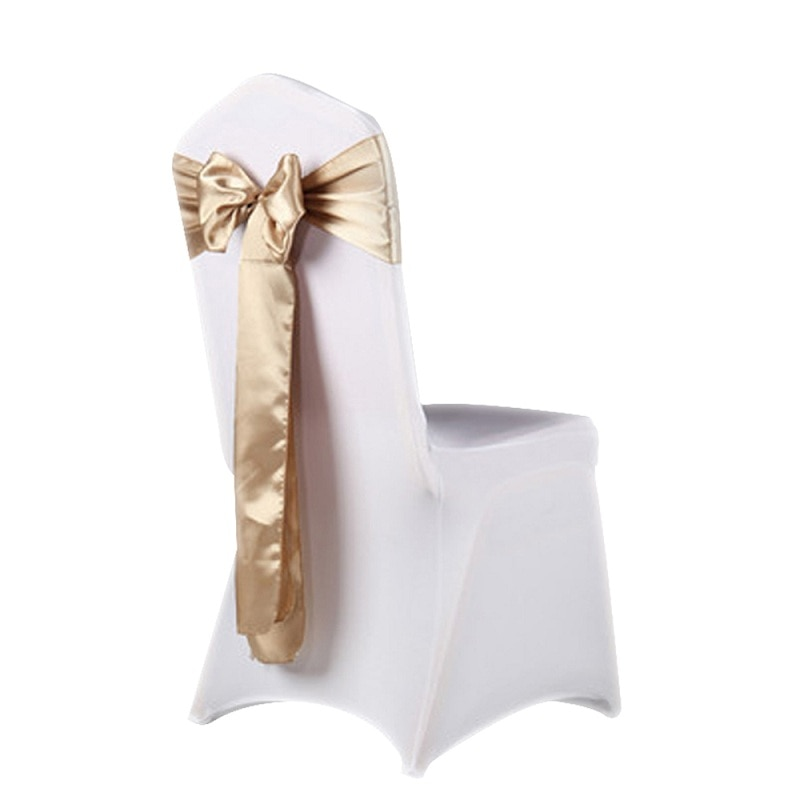 1PC TOP Satin Fabric Chair Sashes Wedding Chair Knot Cover Decoration Chairs Bow Ties For Wedding Banquet Party Event Decor