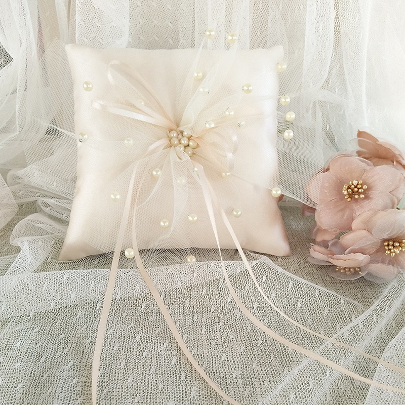 Champagne Lace Ribbon Wedding Ring Pillow 15x15cm Flower Pearl Decorative Ring Bearer Pillow Cushion Engagement Ceremony Pocket