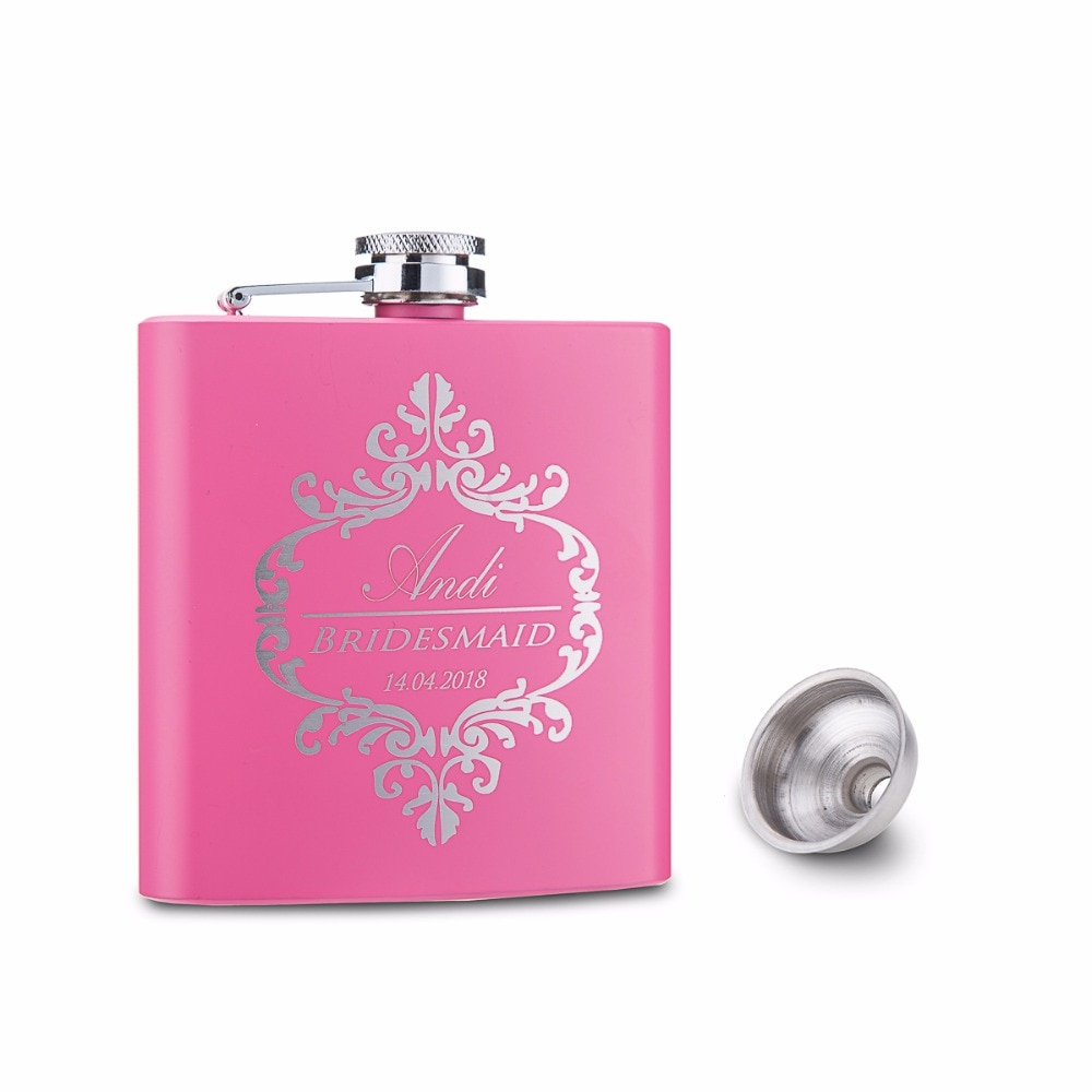 Engraved 6oz Stainless Steel Hip Flask With Father of the Bride Hats Design