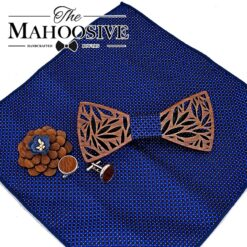 Paisley Wooden Bow Tie, Paisley Wooden Bow Tie Handkerchief Set Men's Plaid Bowtie Wood Hollow carved cut out Floral design And Box Fashion Novelty ties, The Big Wedding Store, The Big Wedding Store