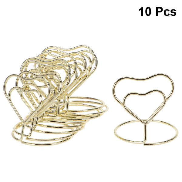 Wire Table Number Holders with Base for Wedding 10pcs Heart Shape Place Memo Card Holder Lovely Banquet Party Decorations