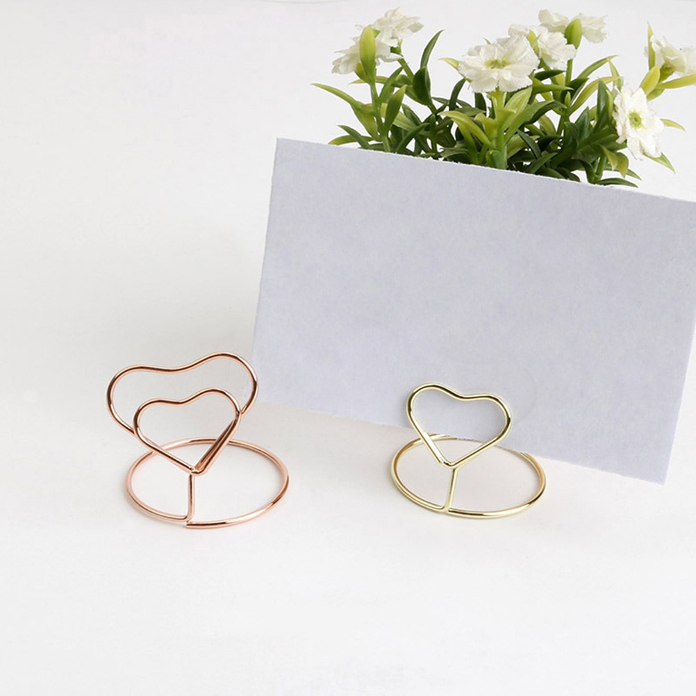 10pcs Heart Shape Place Memo Card Holder Lovely Wire Table Number Holders with Base for Wedding Banquet Party Decorations