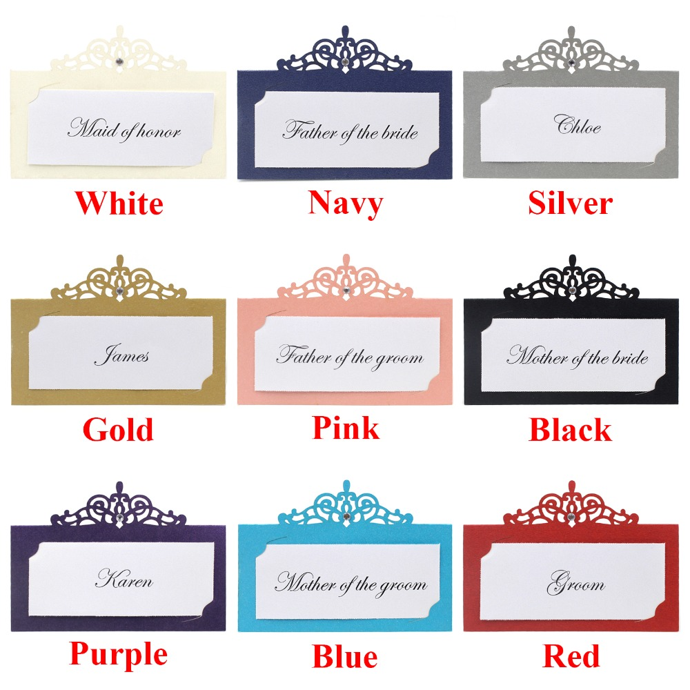 24 Pieces Navy Laser Cut Name Place Card Wedding Decor Party Table Decoration Chic Pearlescent Table Card Centerpieces Supplies
