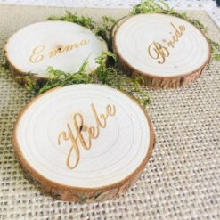 Engraved Wood Slices Place Card