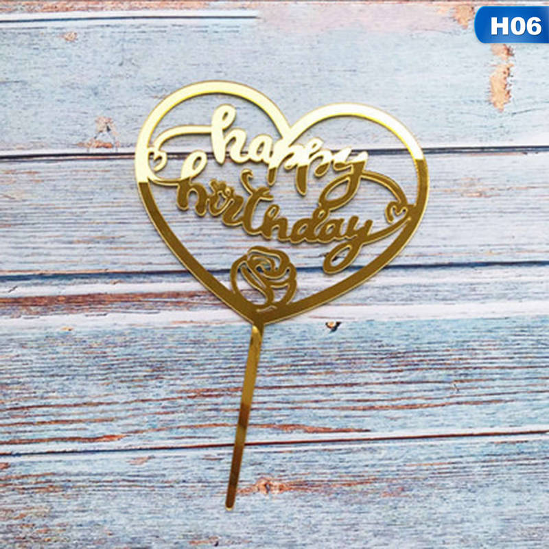 Gold Silver Acrylic Heart Collection Cake Topper Dessert Decoration For Birthday Party Lovely Gifts Insert Party Decor