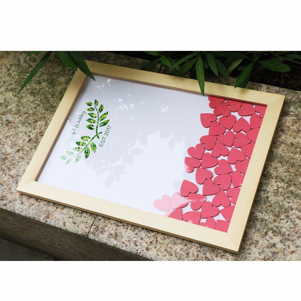 Wedding Guest Book Personalized Wedding Decoration Rustic Sweet Wedding Guestbook 120pcs Small Wood Hearts