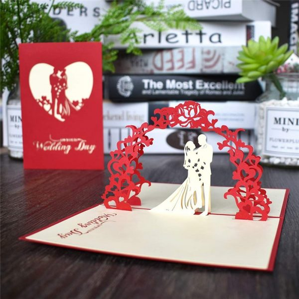 3D Pop UP Cards Gift Postcard, 3D Pop UP Cards Gift Postcard With Envelope Love Valentines Day Stickers Wedding Invitation Greeting Cards Anniversary for Her, The Big Wedding Store, The Big Wedding Store