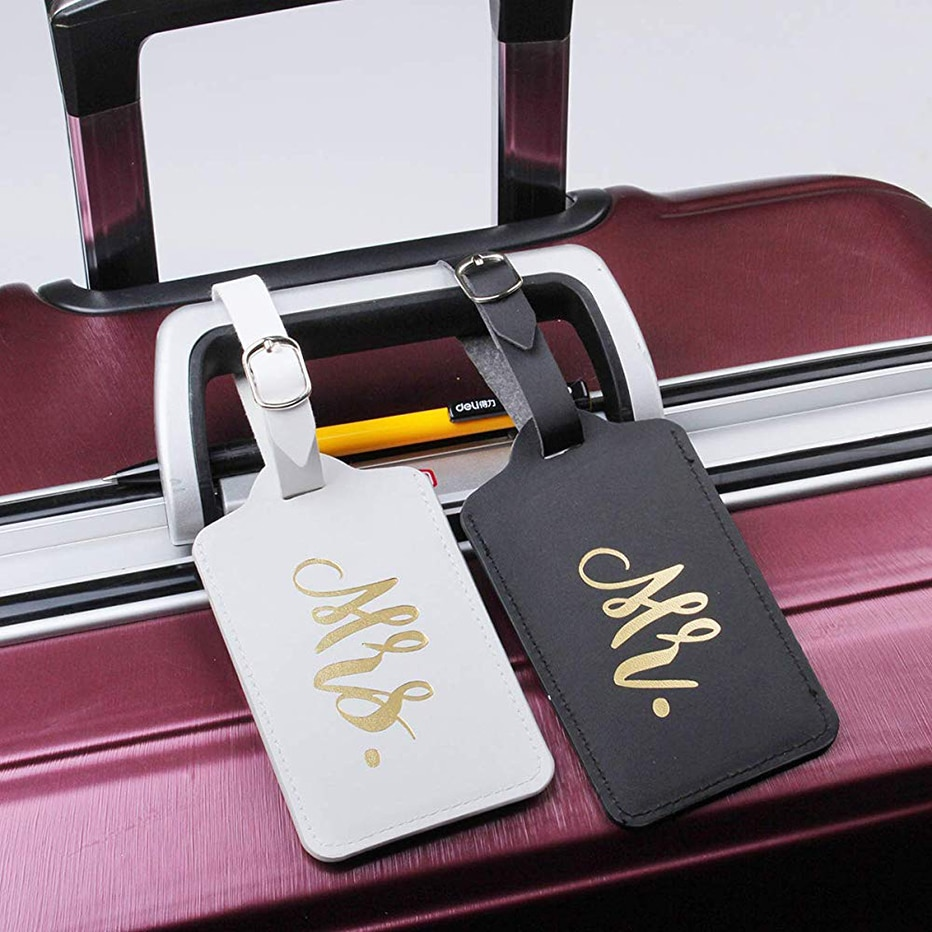 Honeymoon Passport Cover Set Mr and Mrs Slim Waterproof Passport Case Holder with Travel Luggage Tags for Couples Wedding