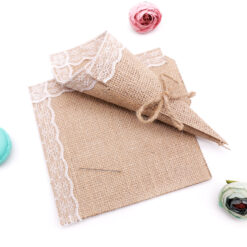 10pcs 15*15cm Burlap Lace Cones Bouquet Flower Wrapping Candy Bags Boxes DIY Handmade for Wedding Birthday Party Gifts Packing
