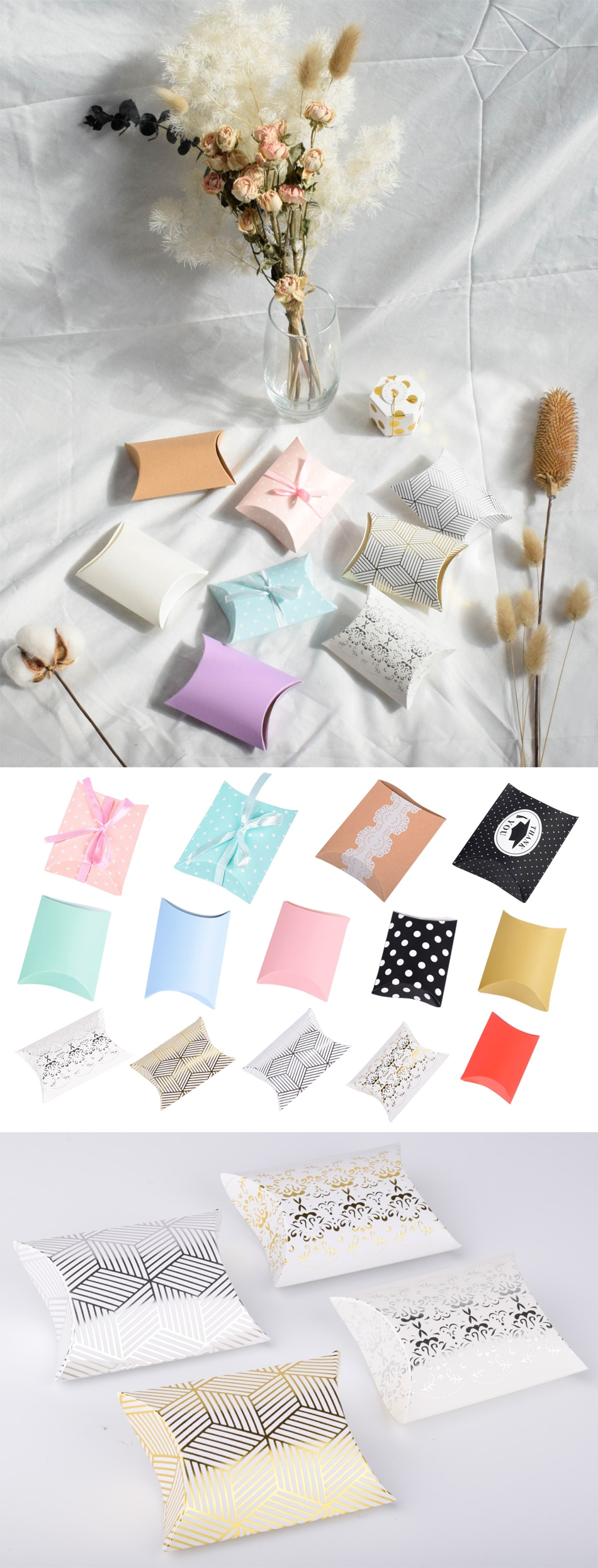 10pcs Candy Box Bag New Craft Paper Pillow Shape Wedding Favor Gift Boxes Pie Party Bags Eco Friendly Kraft Packaging Promotion