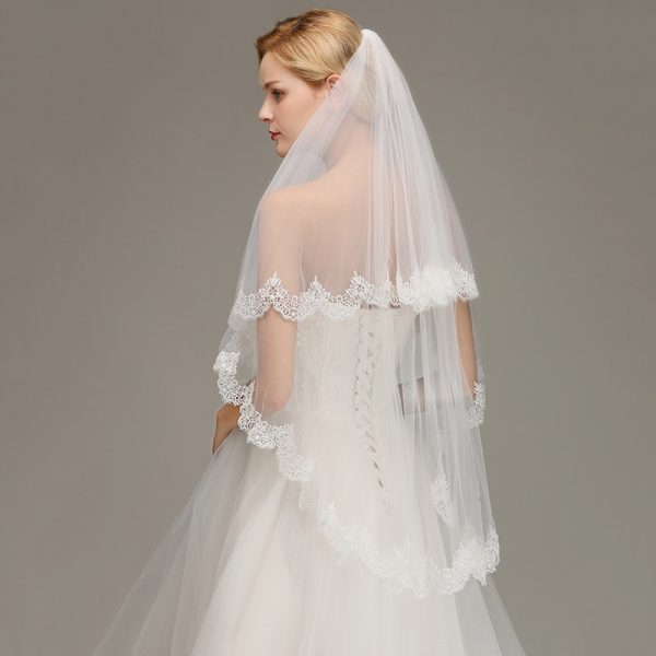 Lace Edge Short Wedding Veil with Comb White Ivory Two Layers Tulle Bridal Veil Wedding Accessories Voile Marriage