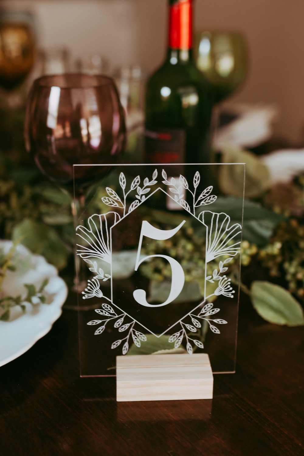 Acrylic Calligraphy Table Numbers With Wood Holder Set Wedding Event Shower Number Sign Personalized Modern Wedding Table Number