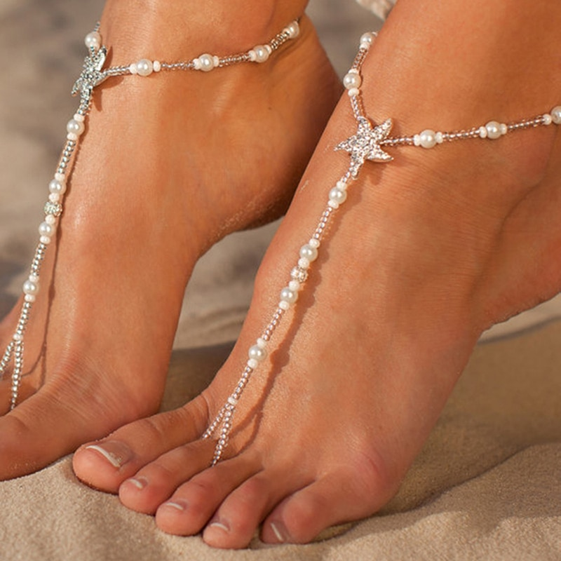Sexy Ladies Starfish Anklet Girls Boho Pearl Foot Jewelry Anklet Beaded Chain Barefoot Sandals Bridal Wedding Jewelry