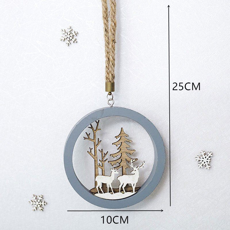 2021 New Year Natural Xmas Elk Wood Craft Christmas Tree Ornament Noel Christmas Decoration for Home Wooden Pendant Navidad Gift