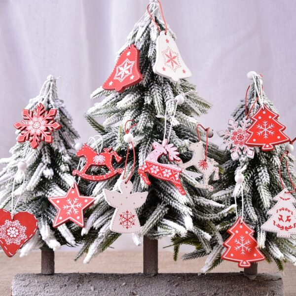 Wooden Charms Ormaments Christmas Tree Festival Decoration Pendant Accessory DIY