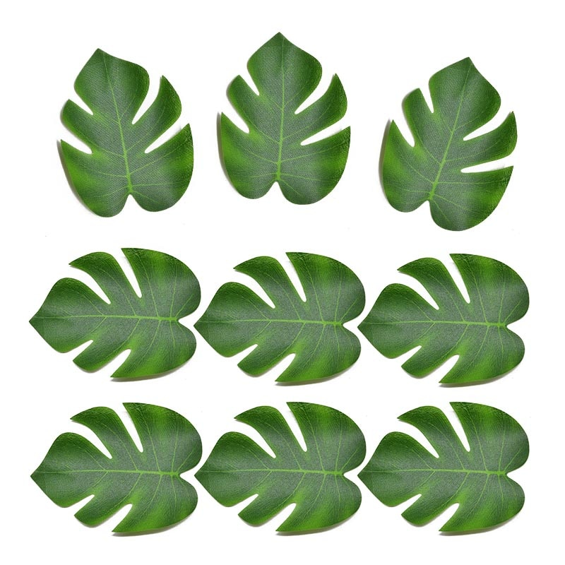 12Pcs Big Artificial Tropical Palm Leaves Silk Leaf For Hawaiian Luau Theme Party Decor Wedding Birthday Home Table Decoration