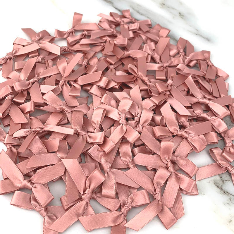 (200 pcs) fresh pink ribbon bows Small size Polyester Satin ribbon Bow Flower DIY Craft Decoration