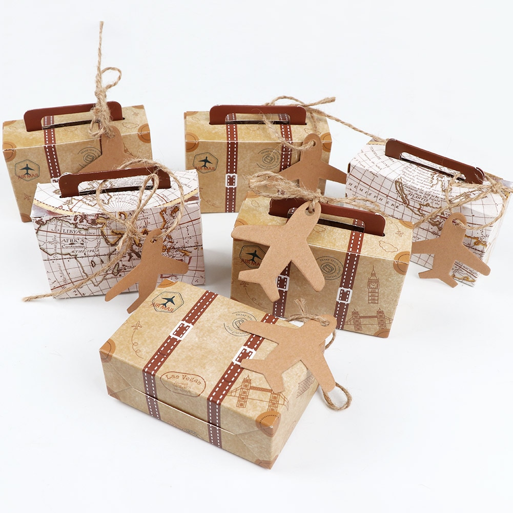 Mini Suitcase Kraft Paper Candy Box Gifts Box Travel Themed Wedding Party Favors For Guests Baby Shower Birthday Party Supplies