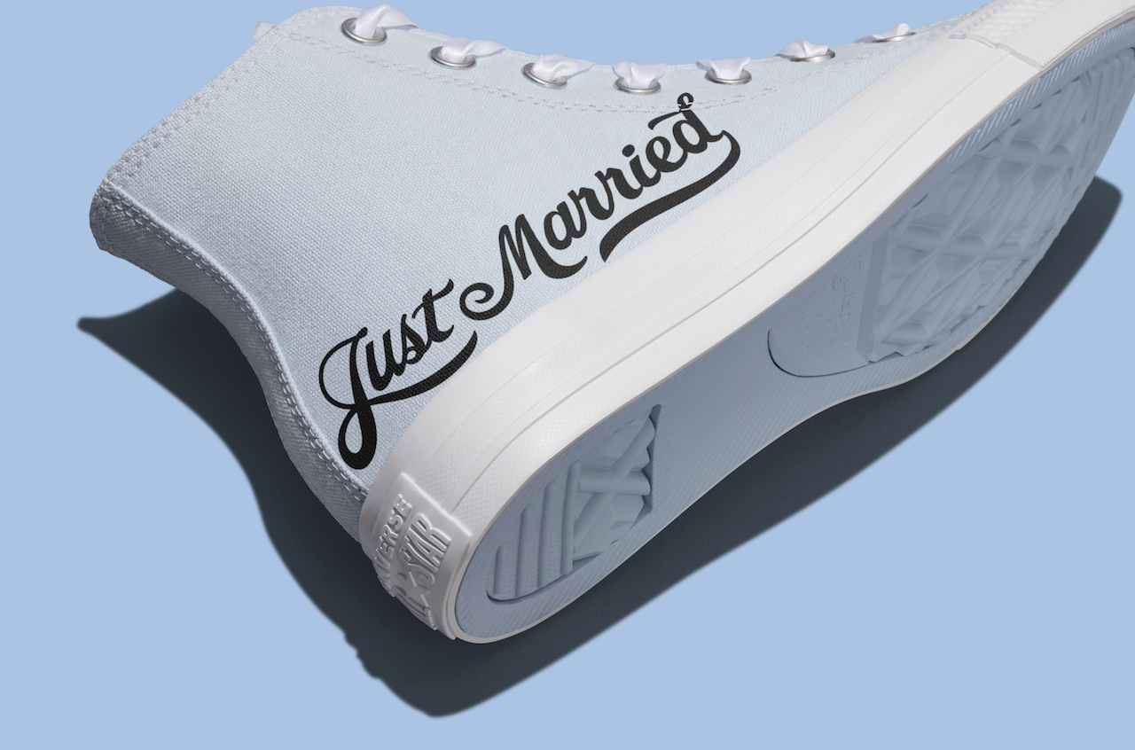 """light blue custom wedding sneakers with the writing 'just married"""""""