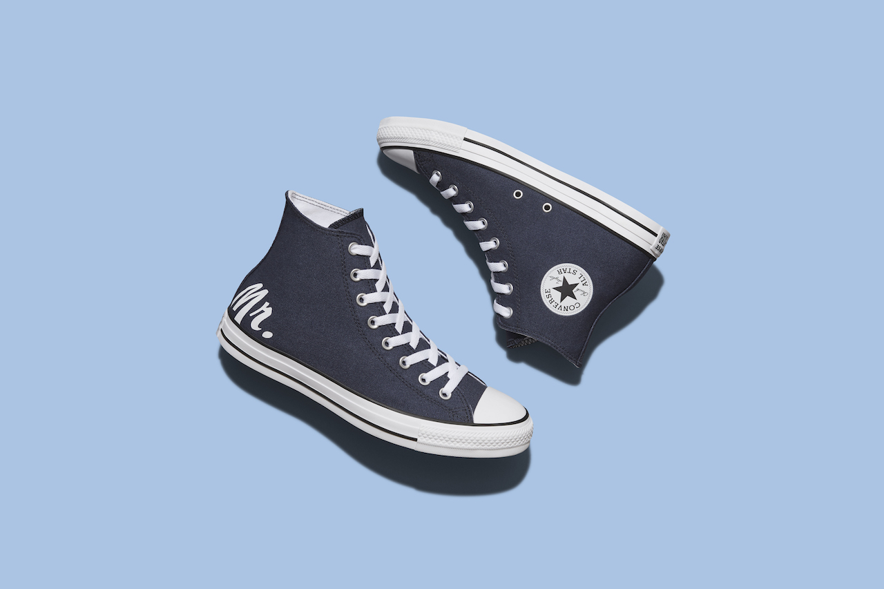 """navy pair of custom wedding sneakers with the writing """"mr."""""""